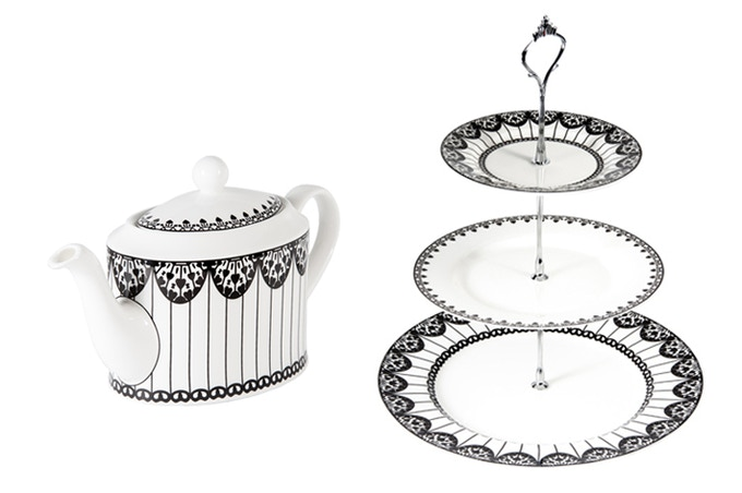 Fine Bone China Teapot or 3-Tier Cake Stand in elegant Paper Kite design