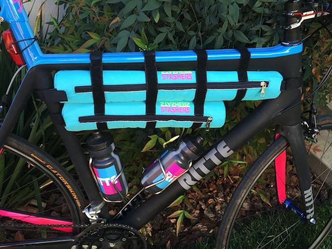 Medium and Large tube coolers on road bike.