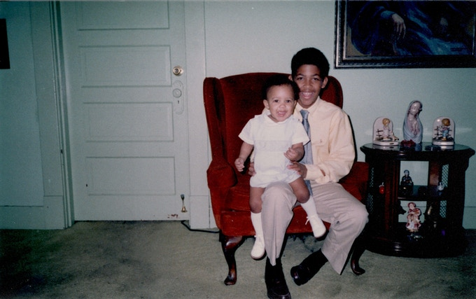 Me as a baby and my brother. He was sweet and innocent.