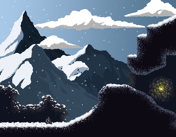 Early concept image for Wildfire snow levels. Snowy terrain will melt upon contact with fire.