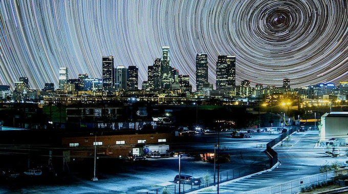 If there was no light pollution...startrails seen from a city in a photo by Gavin Heffernan