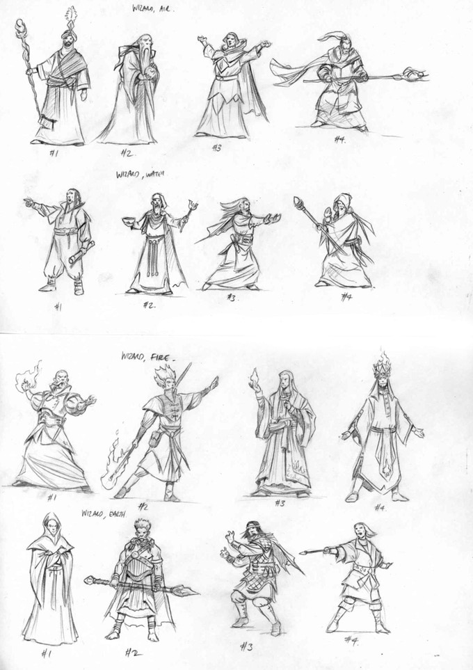 Thumbnail sketches for the wizard factions of Myrathia