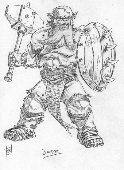 Bugbear detail sketch for miniature