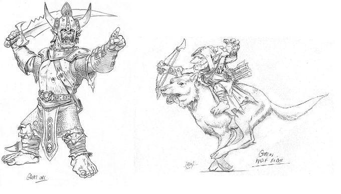 Great Orc and Goblin Wolf Rider detail sketches for miniatures