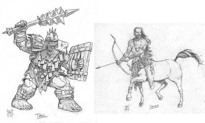 Troll and Centaur detail sketches for miniatures