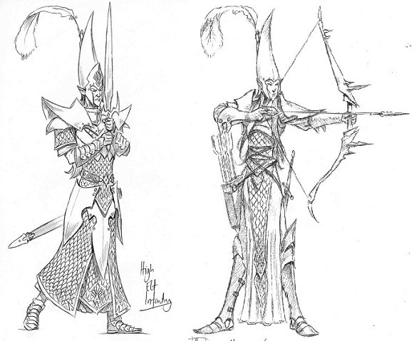 High elf infantry and archer detail sketches for miniatures
