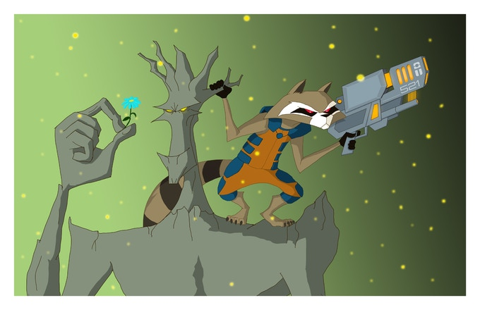My take on Rocket and Groot