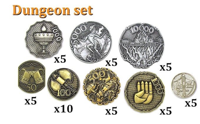 DUNGEON SET (45 coins): 1000-Silver (x5), 5000-Silver (x5), 10,000-Silver (x5), 50-Gold (x5), 100-Gold (x10), 500 Gold (x5), 1000-Gold (x5), 1-Platinum (x5).