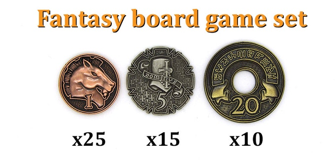 FANTASY BOARD GAME SET (50 coins): 1-Copper (x25), 5-Silver (x15), 20-Gold (x10).