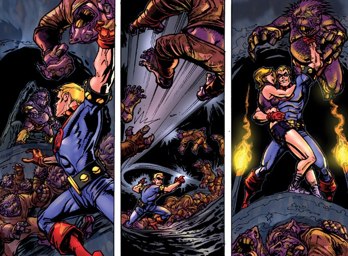 Panels from the story illustrated by Chad Hardin