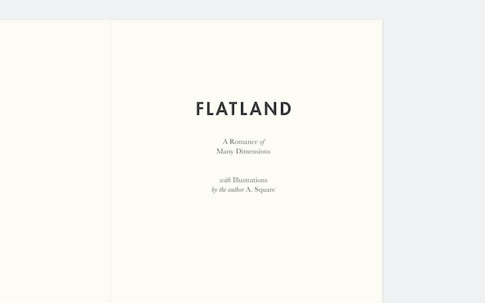 Title page. Flatland is typeset in Futura and Baskerville.