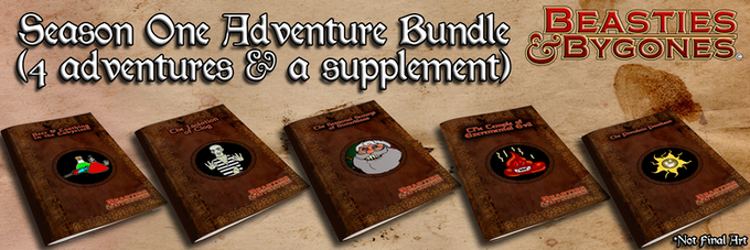 PDFs of the Season One Adventure Bundle are included in pledges of $15 or more! POD codes are available in pledges of $32 or more!