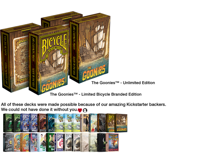 Based on the popular movie from 1985, Albino Dragon is proud to present The Goonies Playing Cards. Goonies Never Say Die! Status:DELIVERED