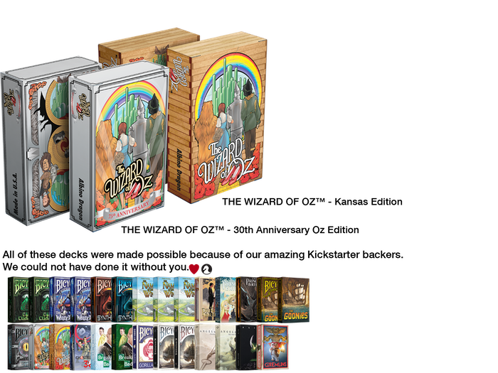 Officially licensed custom playing cards are the perfect way to celebrate the Wizard of Oz's 75th Anniversary.