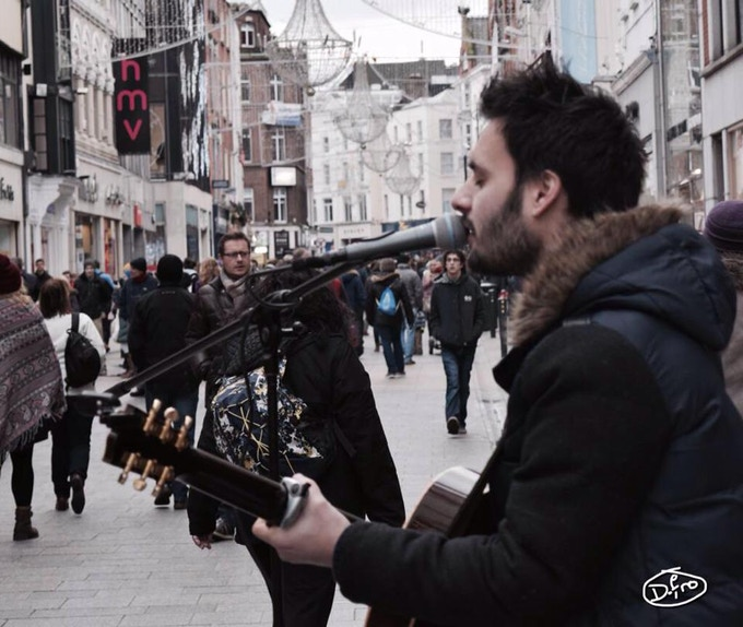 Busking on Grafton Street, Dublin.