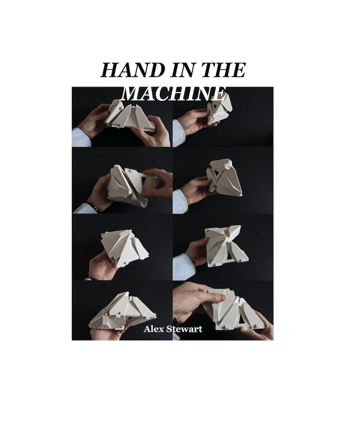 """Hand in the Machine,"" by Alex Stewart. A preview of a typical title page. Image copyright Logic Matter, Self Assembly Lab."