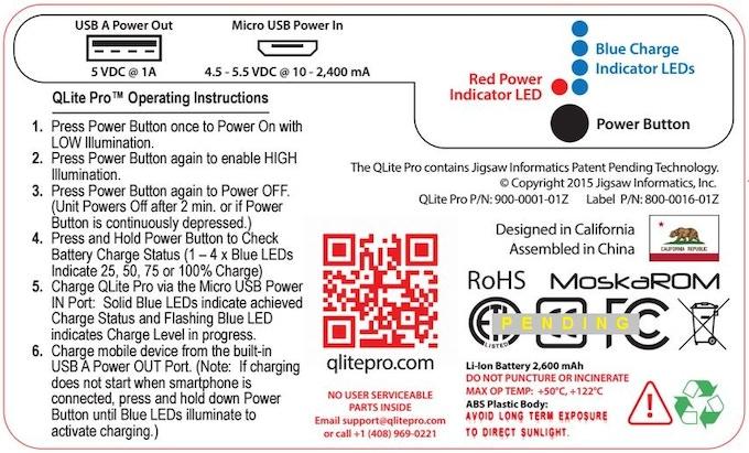 QLite Pro Rear Label