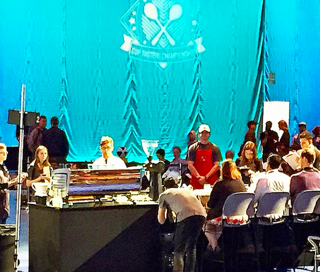 Brandon (in the white hat) at work as the official time keeper for the US Barista Championship