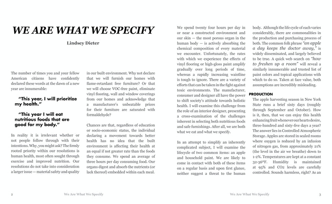 "A snippet of Lindsey Dieter's ""We Are What We Specify."""