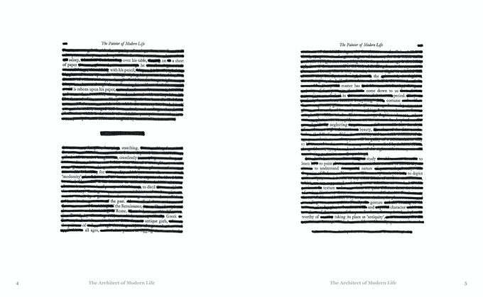 "Brian Pickard's redacted repainting of Baudelaire's ""The Painter of Modern Life."""