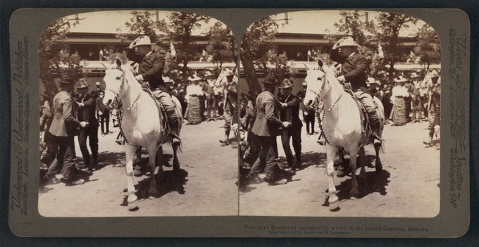 President Theodore Roosevelt during his visit to Grand Canyon in 1908. Stereogram for early 3D viewing by Underwood & Underwood.
