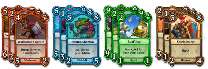 There are 4 main card types: Red, Blue, Green, and Neutral.