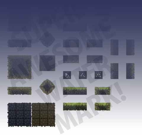 A low-resolution, downsized example of how the forest terrain tiles look arranged on a sprite sheet. The watermark not present in actual sprite sheet.