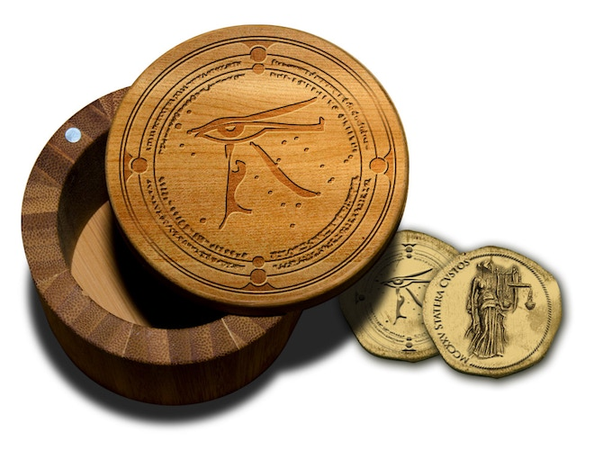 Exclusive Guardians Inc. Wooden Jelwelry Box and Golden Coins