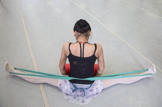 Ballet scholar Celine is preparing for her lessons