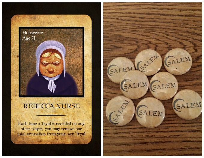 "One of the print-and-play cards you will receive, and the ""Salem"" buttons"