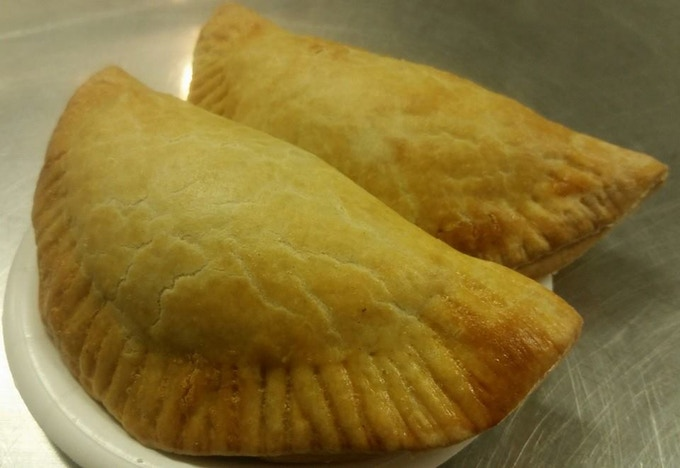 Empanada with chicken, pineapple, red onion and jalapeno in BBQ sauce