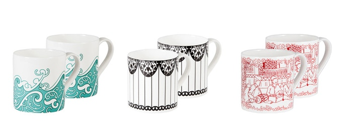 Pair of fine bone china mugs in design of your choice