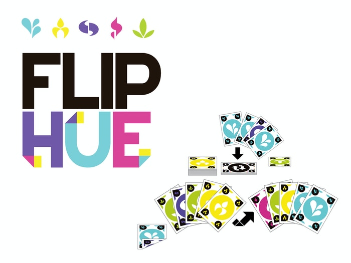 Flip Hue is an easy to play yet complex two sided card game. Collect 5 of a kind to win - be careful not to Flip your strategy!