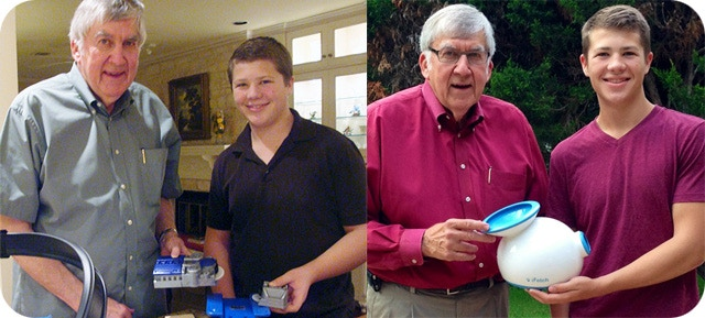 Grant and Grandfather Denny with the original automatic ball launcher prototype in 2010 (left) and in 2013 with the award-winning prototype of the original iFetch (right)