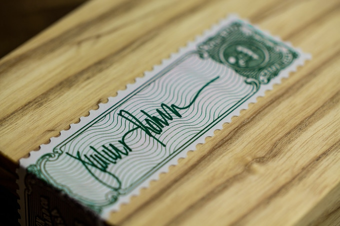 Individually signed tax stamp seal.