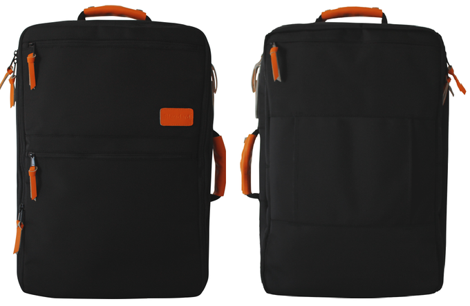SOLO front and back views - backpack straps concealed for a clean profile