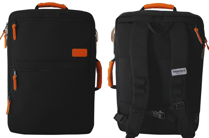 SOLO front and back views - backpack straps out