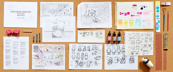 Character Development Sheets, Early Storyboards and Color Studies for 'Love, Daddy'