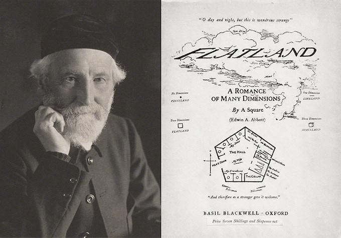 Edwin A. Abbott, and the original 1884 cover of Flatland.
