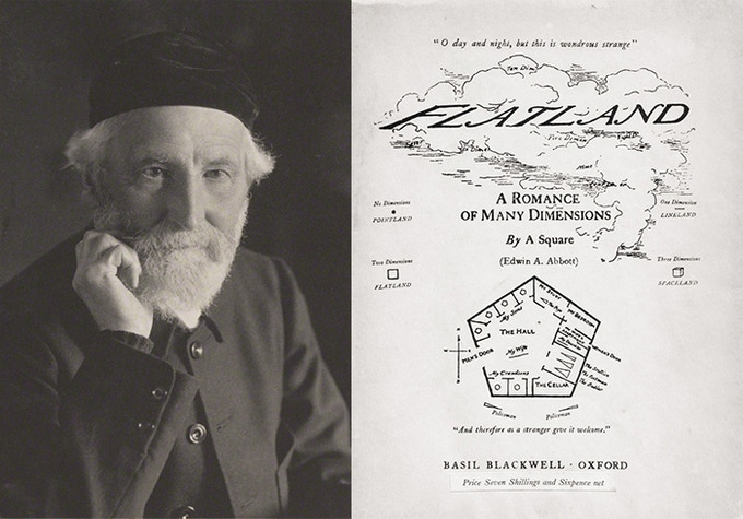 Edwin A. Abbott, and the original 1884 cover of Flatland.
