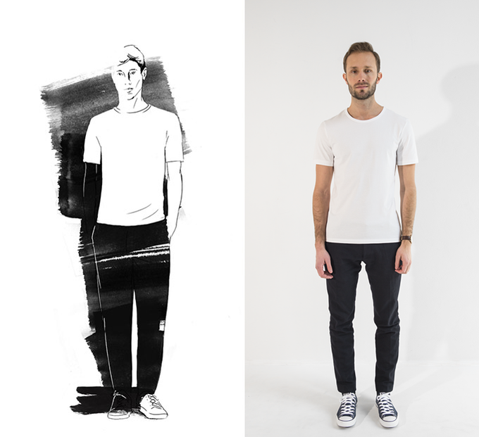 We use a tailored fit, flattering the body while also ensuring freedom of movement. The T-shirt falls just below the hip for a sleek, classic look.