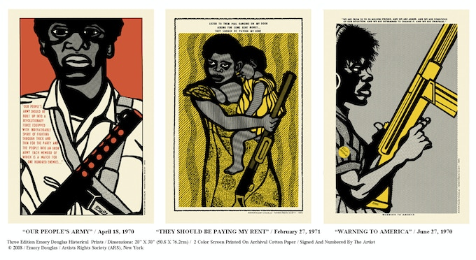 Three unique, signed, limited edition, color prints  designed by former Minister of Culture Emory Douglas.