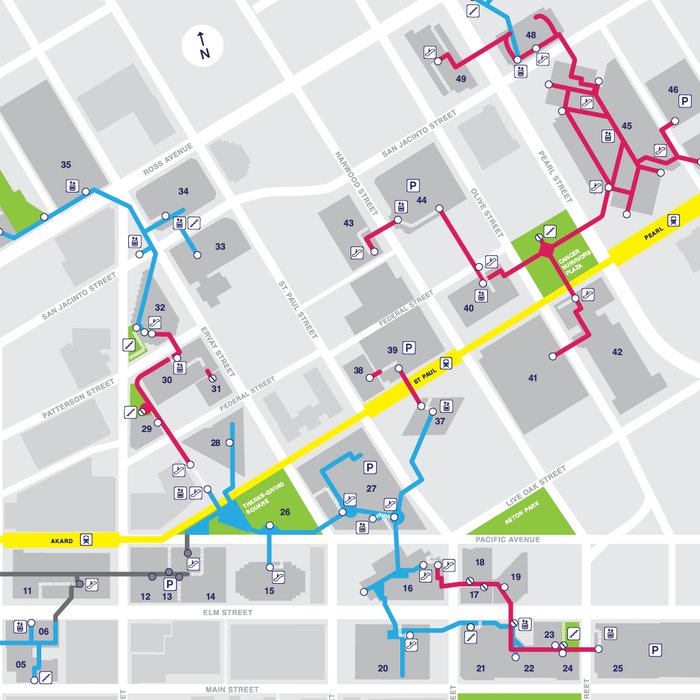 A map of the Dallas Pedestrian Network was created to clearly show connections and accessibility. With help from supporters an initial 10,000 maps were printed and distributed in 2012. The map (with a 2015 update) is available for download.