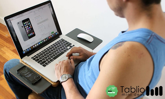 Tablio is the mobile laptop desk that provides you with the space you need on the go, keeping you cool while you work.