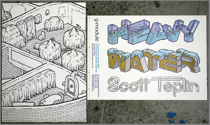 HEAVY WATER 2-sided print. Back when I was a fancy lad and had a show in P-A-R-I-S. Not bragging.
