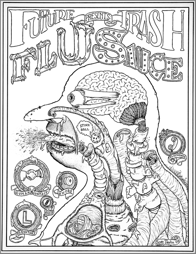 """FLU SAUCE public service poster. For those who wish others to be """"in-the-know"""""""