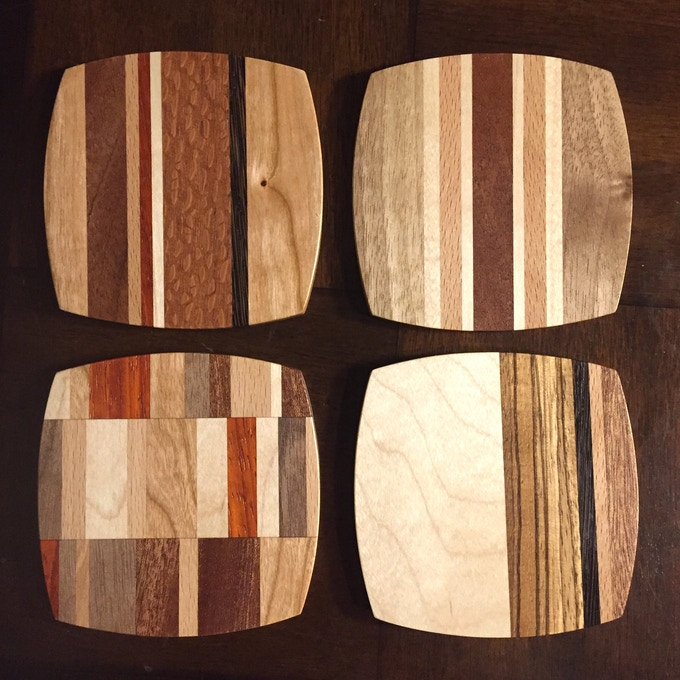 Set of four Coasters. Variety of wood species and patterns.