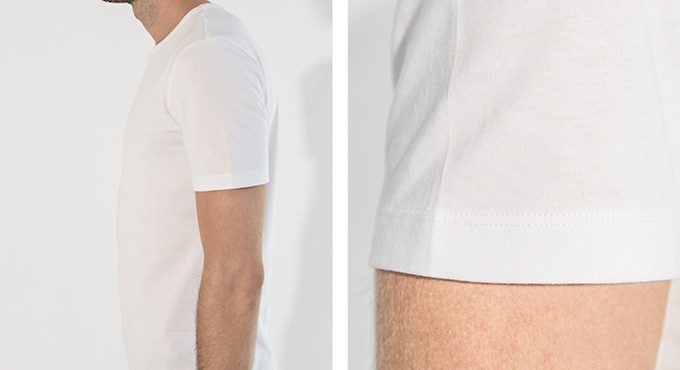 Deliberate, straight sleeves with raised armholes flatter the body.