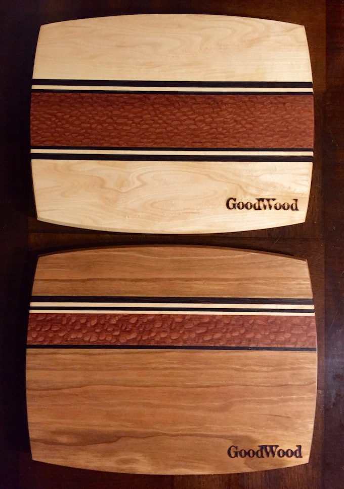 """One Cheeseboard. Variety of wood species and patterns. 8"""" x 10"""""""