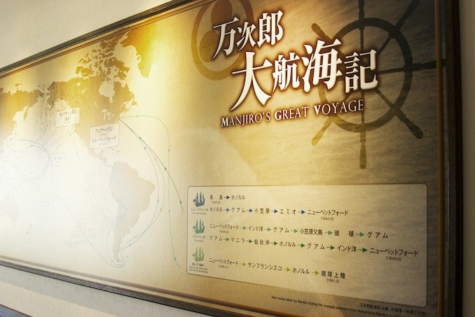Museum banner of Manjiro's voyages